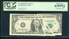 "Fr. 1909-D 1977 $1 Frn ""Gutter Folds On Face Error� Pcgs Uncirculated-63Ppq"