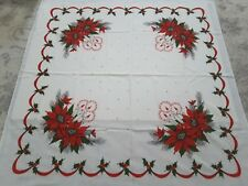 Vintage Christmas Tablecloth Poinsettia Candles Pine 53x50