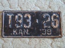 ANTIQUE 1938 KANSAS LICENSE TAG/PLATE #T93-26