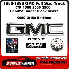 88-98 GMC C/K 1500 2500 3500 Black Chrome Border Front Grille Emblem AMI 96503KC