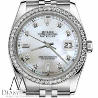 Ladies Rolex 31mm Datejust White MOP Mother Of Pearl 8+2 Diamond Dial RT Watch