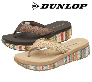 Ladies Dunlop Summer Toe Post Women's Low Wedge Beach Flip Flops  Sandal Shoes