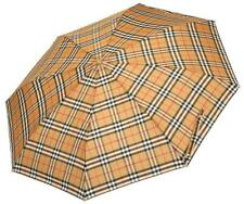 NEW BURBERRY VINTAGE CHECK FOLDING COMPACT UMBRELLA W/COVER