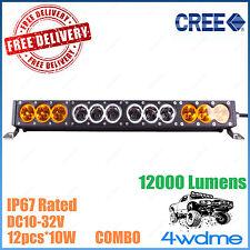 22inch 120W CREE LED Light Bar COMBO Beam AMBER SINGLE ROW Car Truck 4WD ATV