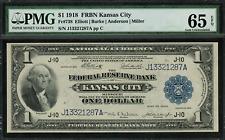 1918 $1 Federal Reserve Bank Note Kansas City FR-738 - Graded PMG 65 EPQ Gem Unc