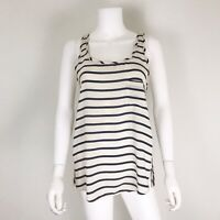 Club Monaco Women's Size S Blouse Silk Cream Navy Stripe