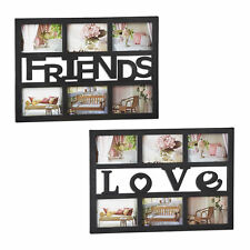2 teiliges Bilderrahmen Set, Fotorahmen, Fotocollage, Love & Friends, schwarz