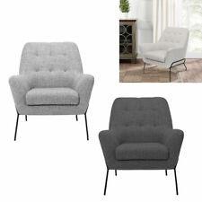 Nordic Style Metal Frame Sofa Chair Wing Back Armchair Button Accent Tub Seat