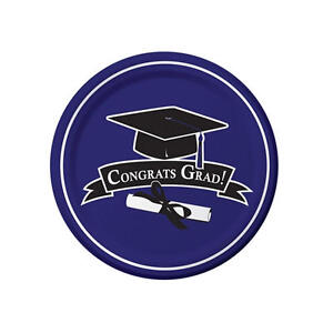 "Congrats Grad Dinner Plates, 16 - 9"" Graduation Tableware, Purple School Color"