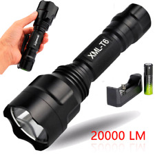 20000LM CREE XM-L T6 LED Flashlight 5 Mode Tactical Torch  18650 Battery Charger