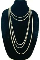 Vintage Multi Strand Silver Tone Chain Statement Necklace