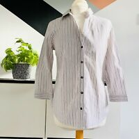 JAEGER Shirt Size UK 10 WHITE   Ladies STRIPED SMART Casual Work OFFICE Occas