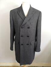 Mens XL Aspen & Court Wool Blend Double Breasted Herringbone Overcoat