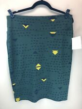 LuLaRoe XL Cassie Skirt #445 Black & Yellow on Green Background- Extra Large