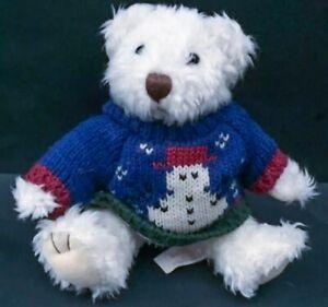 Russ Miniature Teddy Bear In Snowman Sweater Sitting Plush Stuffed Animal Decor
