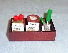 Wooden Garden Box Display- Tools Seeds Plant- Doll House Miniature- Shadow Box