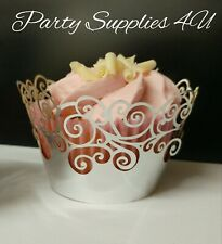Pretty silver cupcake wrapper Liner/lace/wedding/party/Birthday/baking/cases 6pk
