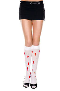 White Opaque Knee High Stockings  Red Blood Drips O/S New Halloween