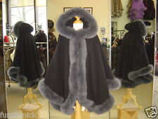 Black Cashmere Hooded Cape With Blue Gray Fox Fur Trim Beautifully Canadian Labe