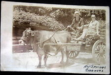 Hot Springs Arkansas ~ 1929 Oxen Pulled Wooden Wagon ~ Lady Smiling ~ Rppc