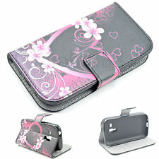 Heart Leather Skin Card Wallet Cover Case For Samsung Galaxy S Duos S7562 S7560