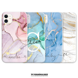PERSONALISED MARBLE PHONE CASE NAME INITIALS HARD COVER FOR IPHONE XR 7 11 12 SE
