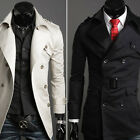 Men Slim Fit Stylish Trench Coat Casual Double Breasted Overcoat Long Jacket TOP