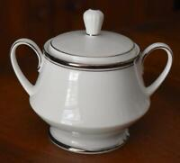 LOVELY VINTAGE NORITAKE COUNTESS PLATINUM TRIMMED TWO HANDLED COVERED SUGAR BOWL