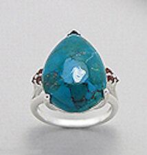 Solid Sterling Silver BIG Blue Pear Chrysocolla & Red Garnet Statement Ring sz7