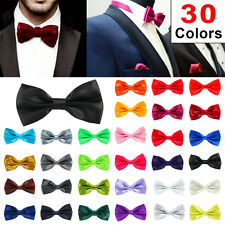 30Colour Satin Mens Pre Tied Plain Bow Tie Wedding Party Prom Dress Necktie Ties