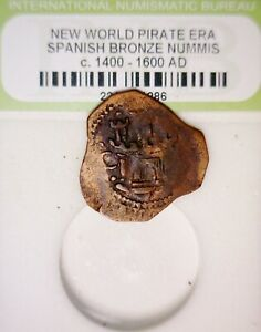 1600's PIRATE Era Spanish Colonial Treasure ' Lion & Castle ' Coin NICE LOT  NR
