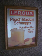 Vintage 1980s Leroux Peach Basket Schnapps 18x22 Official Advertising Mirror!