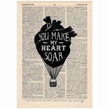 Fai il mio cuore Volare MONGOLFIERA DIZIONARIO stampa OOAK, arte, regalo unico,