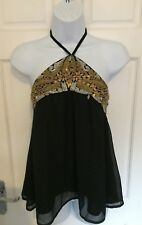 RIVER ISLAND * BLACK CHIFFON OVERLAY GOLD & SILVER BEAD HALTER PARTY TOP SIZE 12