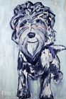 Blue Labradoodle - Dog Wall Art Painting Canvas Print by Michelle Rivera Origina