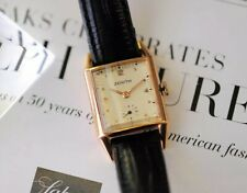 Rare Vintage zenith 18Ct Solid Gold Square Tank Case Wrist Watch From 1947/48