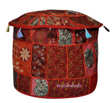 """Indian Handmade Round Pouf Cover Vintage Cotton Ottoman Patchwork Red 22"""""""