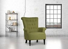 Birlea Edinburgh Easy Fireside Chair Traditional Buttoned Olive Green Armchair