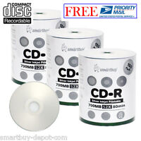 300 Pcs SmartBuy Blank CD-R CDR 52X 700MB/80Min Silver Inkjet Hub Printable Disc