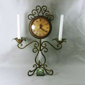 """Clock with Taper Candle Holders for Desk or Mantle Scrolled Steel 19"""" H"""