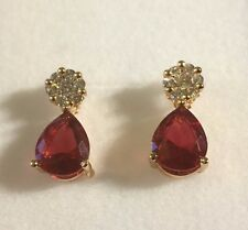SPD Pink pear drop & white sapphire 18k gold gf stud dangle earrings BOXD PlumUK