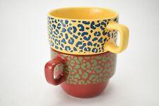 World Market Set 2 Colorful Stacking Mugs 8 oz Cups Giraffe Print