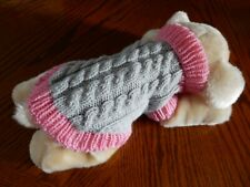 "Hand knitted small dog puppy jumper coat XS 10"" Yorkie chihuahua"