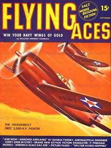MAGAZINE VINTAGE COVER FLYING ACES FIGHTER PLANE WAR ARMY 1941 POSTER CC3337