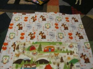 Set of Three Gray/White Woodland Animal Double-sided Flannel Burp Cloths