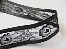 """1 3/4""""  Wide BLACK  Lace and Faux Leather Band Trim - 1 yard"""