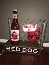 Rare Red Dog Beer Dog/Fence/Bottle Lighted Sign 3-D Beer Advertising