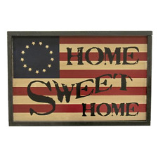 """Patriotic """"HOME SWEET HOME"""" Early American Flag Plaque sign Rustic Home Decor"""