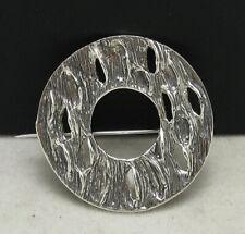 Solid Hallmarked 925 Nickel Free Handmade Sterling Silver Brooch Circle Genuine