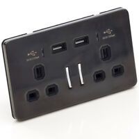2 Way UK High Speed 13A Twin USB Plug Socket Wall Smartphone Black Nickel